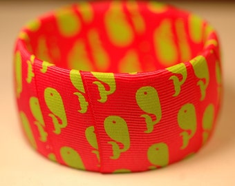 Pink and Green Preppy Whale Bangle
