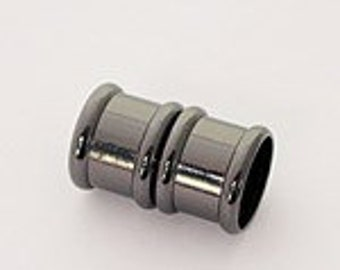 8 Millimeter End Caps, Black Rhodium Plated Magnetic End Cap, Glue in End Cap, Cord Ends