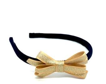 Gold Bow Headband - Gold Glittery Bow on Black Skinny Headband - Little Girl, Tween or Adult Bow Headband - Preppy School or Event Headband