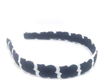 Black and White Headband - Geometric Print Headband - Big GIrl Headband, Adult Headband Woman - Autumn, Fall Headband, Back to School