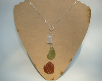 Fall Necklace - Amber, Olive Green, White Sea Glass Necklace - Sterling Silver Wire Wrapped Autumn Necklace