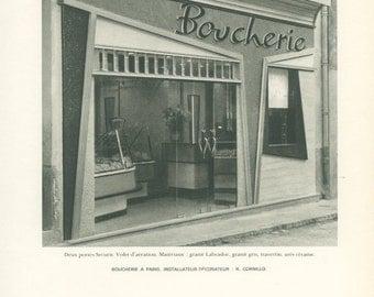 French Shops 16, Butcher's Shop, Paris, Black White Photograph, 1960's Mid Century Modern, French Architecture