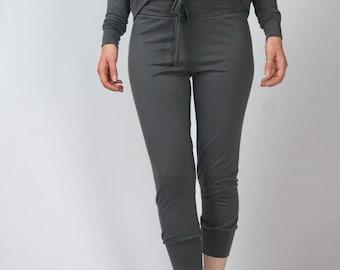 wool lounge pants with drawstring waist - MERINO II range - made to order