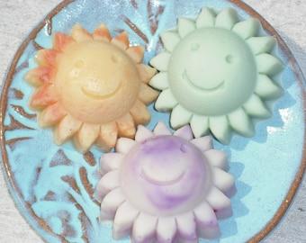 Travel Soaps / Children Soap / 3 Sunshine Soaps / Sample Size Soap /  Cold Process Soap