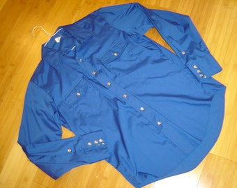 Costume cowboy Western Square dance Rodeo shirt bright blue  men's sz 15.5 34  Halloween