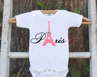 Paris Outfit with Eiffel Tower - Novelty Baby Shower Gift - Newborn Baby Girl Outfit - Paris Onepiece Newborn Baby Shower Gift - Infant Girl