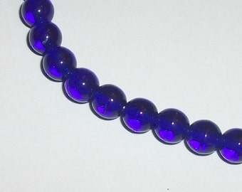 Preciosa Czech glass druk transparent ROUND  Beads Cobalt blue ---  Full strand - Available 4mm, 6mm and 8mm