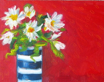 Pretty Daisies. Oil painting on canvas board by Yvonne Wagner. Gänseblümchen. Marguerites. Framed 5 x 7 (13 x 18 cm). Free Shipping to USA.