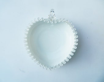 Fenton Silver Crest Heart Shaped Bowl Relish Bon Bon Candy Dish Glass