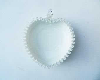 Fenton Silver Crest Heart Shaped Bowl Relish Bon Bon Candy Dish Glass