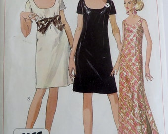 Sewing Pattern Woman Misses Dress Two Lengths Simple to Sew Vintage 1960s Simplicity 7384 Women's Dress