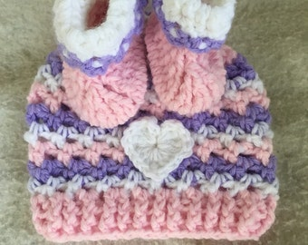 Pink, Purple, and White Hat and Bootie Set - Newborn - Infant - Hand Crochet