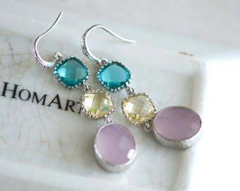 Dangly earrings, Long drop earrings, Multicolor earrings, Dangling earrings, pink, yellow, aqua, Silver earrings
