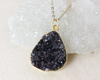 Black Druzy Pendant Necklace – Choose Your Druzy – 14K Gold Fill