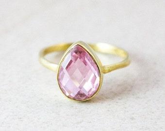 Gold Pink Quartz Ring - Princess Pink Quartz - Teardrop Stacking Ring