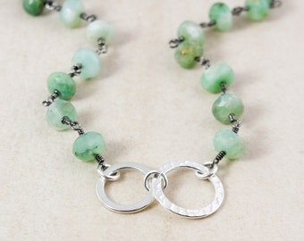 Green Chrysoprase Necklace – Sterling Silver Hoops