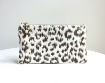 Snow Leopard Animal Print Zippered Bag / Beaded Pull - Brown, Taupe & Ivory - READY TO SHIP