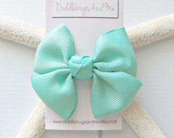 Tropic Pinwheel Bow, Girl's Tropic Blue Hair Bow, Hair Bows For Girls, Back To School Hair Bows, Aqua Green Pinwheel Bow, Beach Bow
