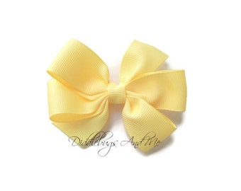 Buttercream Pinwheel Bow, Yellow Hair Bow, Girls Yellow Hair Bow, Back To School Bows, Hair Bows For Girls, Toddler Hair Bows, Pinwheel Bow,