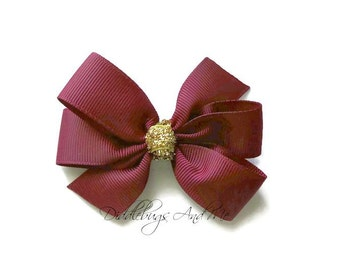 Wine and Gold Pinwheel Bow, Wine Hair Bow, Piggy Tail Bows, Toddlers Hair Bows, Back To School Bows, Hair Bows For Girls, Holiday Hair Bows