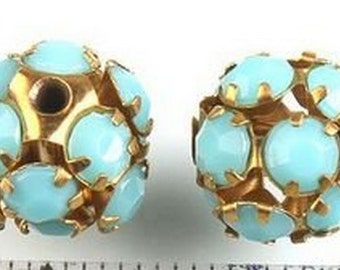 2 Vintage Swarovski beads 10mm, turquoise crystals in gold color metal setting creating ball shape RARE