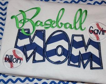 Baseball MOM adult shirt- any school.  You choose fabric