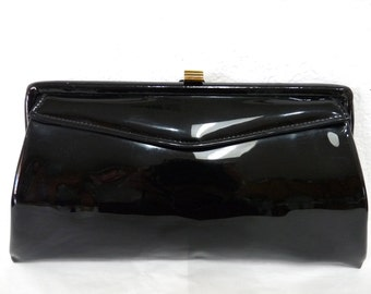 Vintage Glossy Black Purse Garay Handbag Clutch Gold Clasp