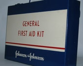 Vintage Metal First Aid Kit Box Johnson & Johnson Red White Blue