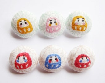 6 Small Fabric Buttons Set - Daruma Lucky Charms - Fabric Sewing Buttons