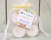 Buzz Off Citronella Tealights 4 Pack - Green Daffodil - Handpoured - Siouxsan and Anne