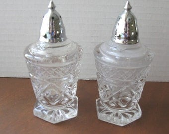 Imperial Glass Cape Cod Clear Salt and Pepper Shaker Set