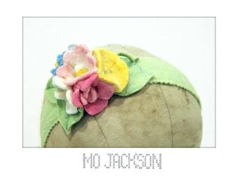 headband wool felt  blooming bouquet of handmade flowers