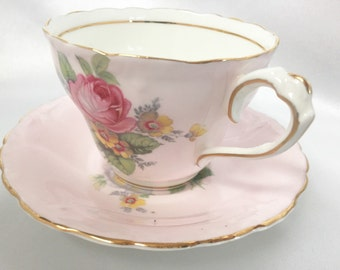 Vintage Paragon England pale pink roses tea cup and saucer