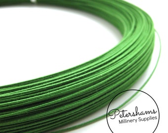 0.8mm (40 Gauge) Cotton Covered Millinery Wire (For Hat Making, Flower Making) - Green