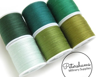 Green Thread Collection - 6 Shades of Polyester Thread on 100 yard Spools