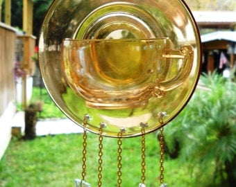 Carnival Glass Tea Cup and Saucer Windchime, Recycled Depression Glass with Stained Glass Wind Chimes, Marigold Glass Garden Decor, Yard Art