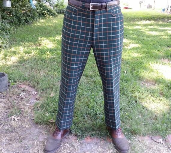 Mens Vintage Plaid Pants 116