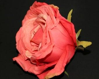 Dark Salmon Peach Calista Rose - Artificial Flowers, Silk Flowers