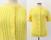 1960s Grandma Cardigan Sweater Cable Knit Dandelion Bright Yellow Button Down Kitsch Vintage 60s Jumper Short Sleeve Granny Chic S Medium M