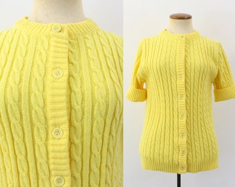 1960s Grandma Cardigan Sweater Cable Knit Dandelion Bright Yellow Button Down Kitsch Vintage 60s Jumper Short Sleeve Granny Chic S Medium M