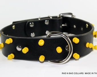 """Yellow Spiked Dog Collar - 1.5"""" Spiked Leather Dog Collar - Black Leather Dog Collar - Spiked Leather Dog Collar - Powder Coated Spikes"""
