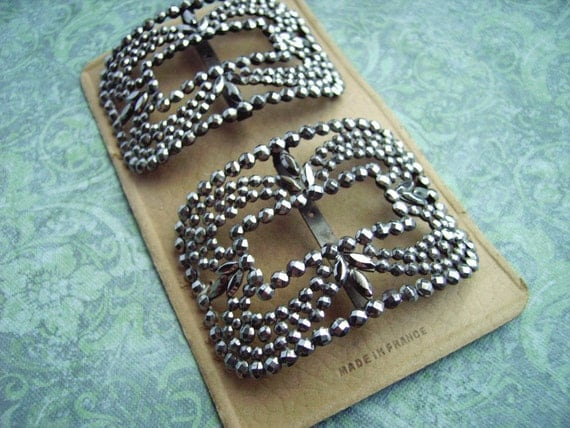 Antique Riveted French Pair Cut Steel Buckles Shoe Clips on Original Card – Gorgeous shiny ornate in wonderful condition – Made in France