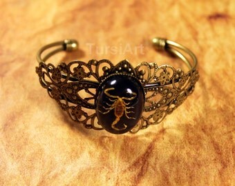 REAL Scorpion in resin brass filigree bracelet taxidermy Insect jewelry real bug in resin bangle bracelet real insect