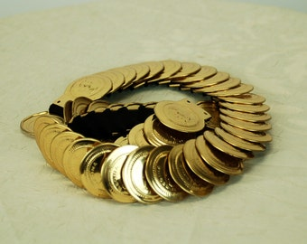1980s coin belt gold stretch expandable 80s glam