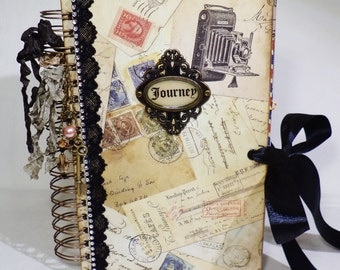 Travel Journal - Vintage Junk Journal - Mini Album - Spiral Bound Journal