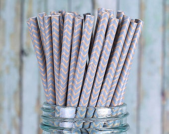 Kraft Brown & Blue Paper Straws, Chevron Wedding Straws, Drinking Straws, Party Straws, Cocktail Straws, Fancy Straws, Kraft Straws (30)