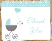 Baby Shower Thank You Cards, Baby Boy, Blue, Gray, Heart, Carriage, Stroller, Set of 24 Folding Notes, FREE Shipping, BUBBL, Buggy Baby Boy