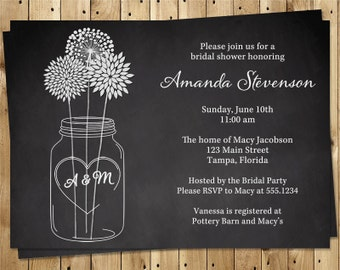 Mason Jar Bridal Shower Invitations, Wedding, Black, White, Flowers, Set of 10 Printed Cards, FREE Ship, MSNCB, Chalkboard Mason Jar