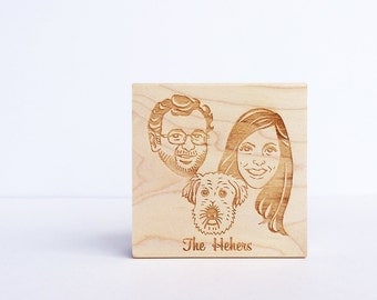 Portrait Stamp/ Wedding invitation stamp/ Face stamp/ Christmas card stamp/ Christmas gift/ Any texts on rubber stamp for FREE