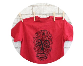Day of the Dead Youth T Shirt, Sugar Skull Children's TShirt, Graphic Tee , Red Cotton Crewneck T shirt, Kids Clothing, Screen-print Shirt